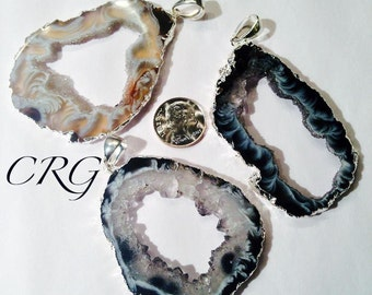 Extra Large Silver Plated Oco Geode Slice Pendant, Geode Druzy, Crystal Necklace, Occo Geode (GD24BT)