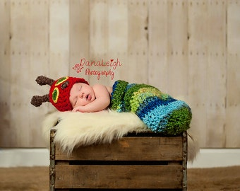 Christmas Newborn - Caterpillar Outfit - Newborn - CROCHET PATTERN - Photo Prop - Hat and Cocoon - Halloween - Baby Shower - Costume