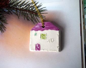 Ornament Ceramic houses, Gift tag, Christmas tree decor, Decoration, Living room decor, home decor, White Glazed Ceramics ornament