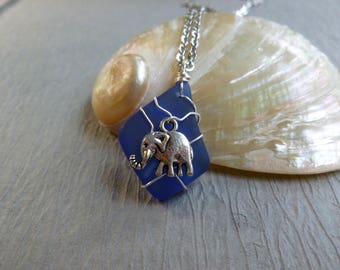 Handmade seaglass blue pendant with elephant wire wrapped stainless chain