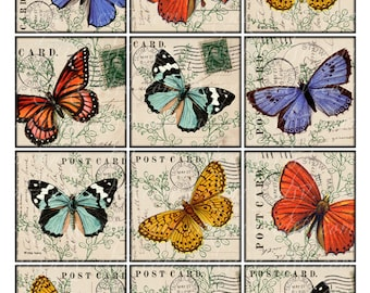 butteflies 2.5 inch Vintage Printable Tags Background Digital Collage Sheet large square images Download and Print card making