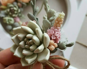 Boutonniere Groom Succulent flower Wedding boutonniere  Woodland wedding Bohemian  Rustic
