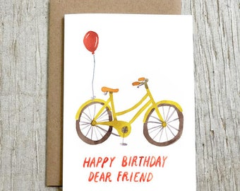 Bike Birthday Greeting Card, Happy Birthday Dear Friend, Yellow Bicycle Card by Little Truths Studio