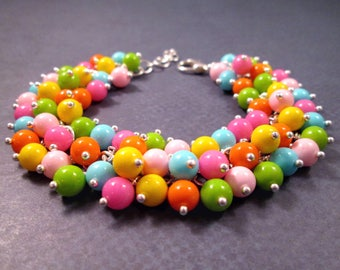 Silver Cha Cha Bracelet, Bubble Gum Rainbow, Colorful Glass Beaded Bracelet, FREE Shipping U.S.