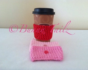 Cozies Handmade Coffee Cozy Cup Gift Under 15 Pink Red Rose