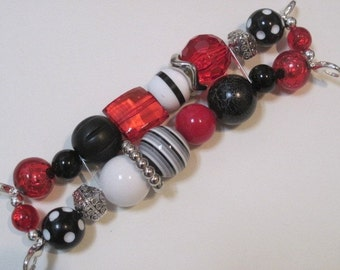 RED, BLACK AND WHITE WITH SILVER ACCENT BEADS DOUBLE STRANDED INTERCHANGEABLE WATCH BAND