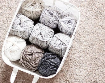 Styled Stock Photo   Yarn In A Basket   Blog stock photo, stock image, stock photography, blog photography