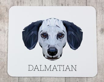 A computer mouse pad with a Dalmatian dog. A new collection with the geometric dog