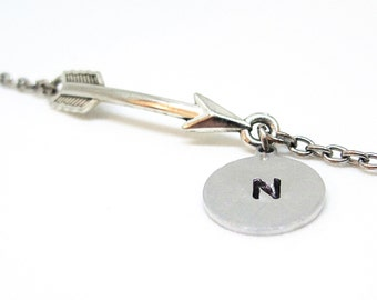 Personalized Initial and Arrow Charm Delicate Silver Bracelet