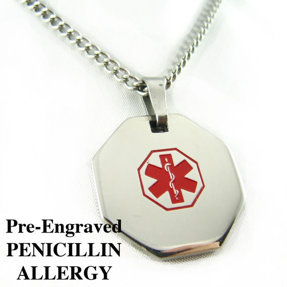 Pre engraved penicillin allergy medical alert necklace aloadofball Image collections