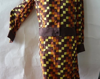 Vintage GUY LAROCHE Silk Dress / Skirt Jacket 1960s Optic Print Mod  / Designer Italy Mod Brown Yellow / size Small size 4 6 8