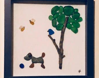 Good dog Seaglass art