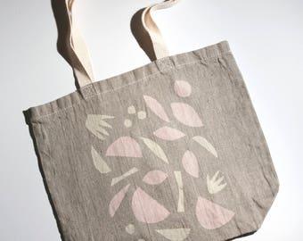 Block Printed Linen Beach Bag -  linen tote bag, summer tote bag, hand printed tote bag, book bag, grocery bag, carry all, printed beach bag