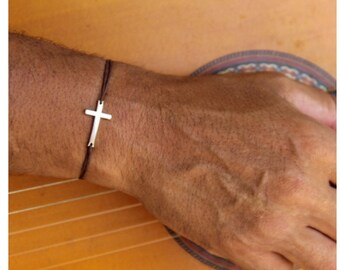 Cross bracelet on waxed cord colors