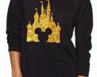 Ladies Cinderella Castle Mickey Mouse Glitter Off Shoulder Shirt Disney Princess Disney World Castle Shirt