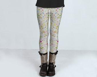 Musical Confetti: leggings, yoga leggings, printed leggings, women's clothing, women's leggins, spandex sports