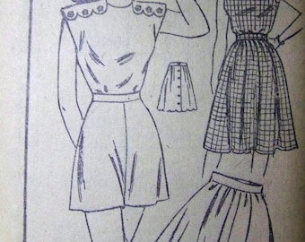 UNUSED Vintage 1940s Mail Order Pattern 2012 PLAYSUIT and Skirt Pattern sz 15