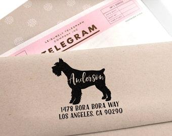 Custom Address Stamp - Schnauzer Dog Return Address Stamp, customized gift for holidays, housewarming and weddings, school