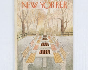 The New Yorker Magazine, Entire publication Sept 29, 1975. Muted Greens, Oranges, Yellows. Terrace scene with game tables and benches.