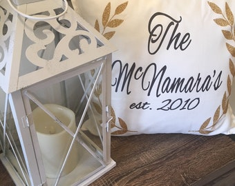 Last Name Pillow - Family Name Pillow - Housewarming Gift - Personalized Housewarming Gift Pillow Case - Family Room Decor - Personalised -
