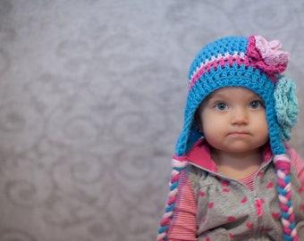 girls winter hat, girls hat, newborn girl hat, little girls hat, baby girl hat, crochet kids hat, blue hat, winter hat for girls, baby hat