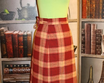 Vintage Wrap Skirt, Wool Blend