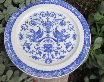 """Scammells Trenton China Flying Griffing 12"""" Plate pacific Railroad Blue and White Non Divided Serving Plate Set of 3 Plates"""