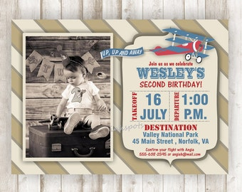 Airplane Birthday, Vintage Airplane Party, Vintage Airplane Invite, Airplane Birthday Invitation, Airplane Invite Boy Birthday Invite BRAP04