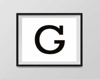 Letter G in 4 color choices, Monogramed Photo Print or Canvas kids Wall art