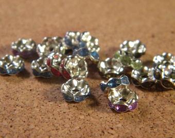 rhinestone spacer, 8 mm - multicolor set - AC1 20 beads
