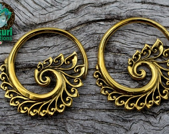 Brass tribal earings, brass, tribal, expansions, stretched lobes,boho, gypsy, festivalstyle, hippiechic