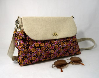 Small linen bag and Effervescence geometric patterned cotton