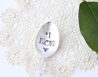 Mom Spoon - #1 One - Coffee Tea Stir Stick - Ice Cream - Vintage Silver Plated Silverware - Hand Stamped - Mothers Day Gift - Gifts for her