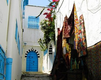 SIDI BOU SAID alley, stairs, white houses, Arabian shop, blue door, Tunisian Travel photo 2006, Seaside home decor, Mediterranean photo