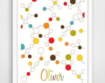 Science Molecules - Custom Name - Science Nursery Decor