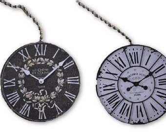 Set of 2 Black and White Clocks Round Wood Fan / Light Pull