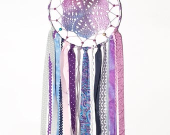 Ready to ship, in stock, purple color art, Dreamcatcher, large dream catcher, posh pax designs, crochet piece, nursery decor