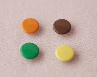 100 sets, Orange, Brown, Yellow, Green Shade (4 Colors) Capped Prong Snap Button, Size 18L (11.3 mm)