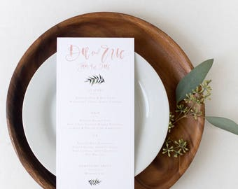 Blush + Greenery Hand lettered brush calligraphy wedding and event menu