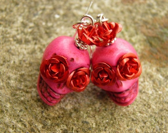 Day of the Dead Earrings, Sterling Silver and Pink Turquoise Skull Jewelry, Jewelry, Halloween Earrings, Day of the Dead Jewelry