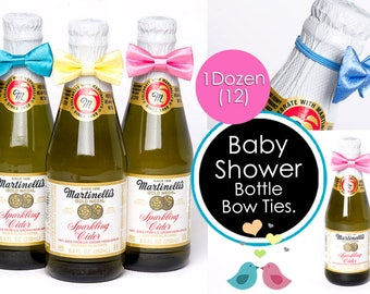 """Baby Shower Bow Ties for Bottles Party Favor Bow Ties 2"""" on Small Elastic Bands SET OF 12"""