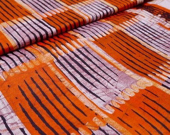 African print fabric, Orange Batik, African Wax Print, Stripe batik, Coat of arms batik, African Ankara, African Material, sold by the yard
