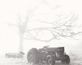 DIGITAL DOWNLOAD - Old Tractor w/ Fog (Black & White)