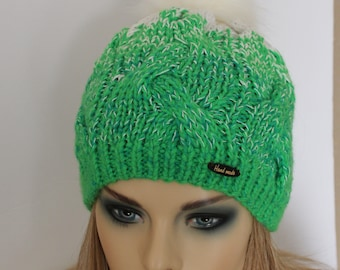 Gift insite!!! Green-White Pompom hat. Cozy Soft Winter hat. Ready to ship!