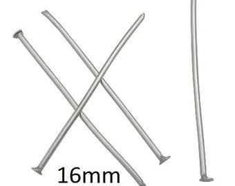 100+ Pieces 16mm Stainless Steel Headpin 21 Gauge 0.7mm