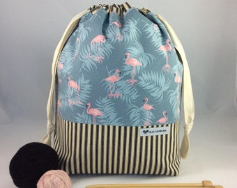 Large Knitting Project Bag, Drawstring Bag, Work in Progress Bag, Canvas Bag. Flamingoes and Palms & Black Stripes