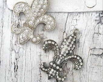 Set Of Two Fleur De Lis Pendants, Crystal Fleur De Lis, Destash