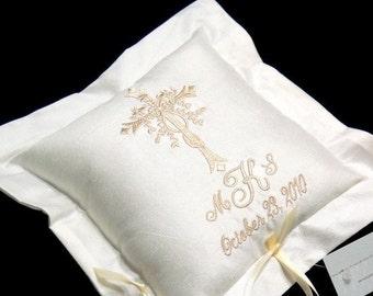 Silk Ring Bearer Pillow, Ring Pillow, Cross monogram and wedding date, Wedding Ring Pillow, Style 4210