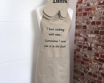 Apron  For Women-Oven Gloves-Embroidered-Kitchen Gift- Gift for Her