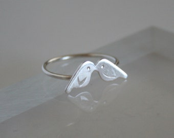 Silver Kissing Baby Birds Ring, Love Birds, Silver birds, Gift For Her, Silver RIng, Metalwork, Handmade Ring